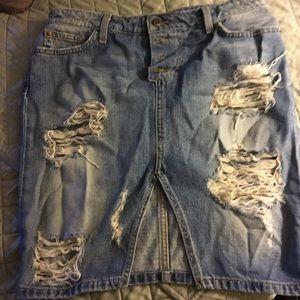 Joes distressed denim skirt
